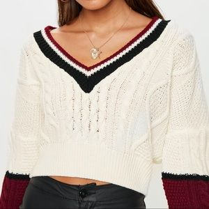 Missguided V Neck Color Block Cable Sweater Ivory